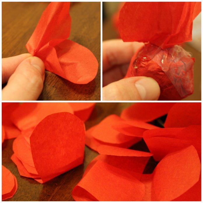 glue tissue paper pedals